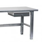 Arbetsbänk 1500x800 stål, skiva och stativ galvad, 1 bänklåda