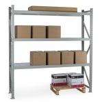 Lagerhylla startsektion 2200x2300x600 350kg/hyllplan,3 hyllor, zinkplåt