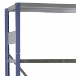 Lagerhylla startsektion 2500x1000x400 200kg/hyllplan,6 hyllor, blå/galv