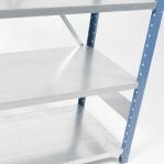 Lagerhylla följesektion 2500x1000x400 200kg/hyllplan,6 hyllor, blå/galv