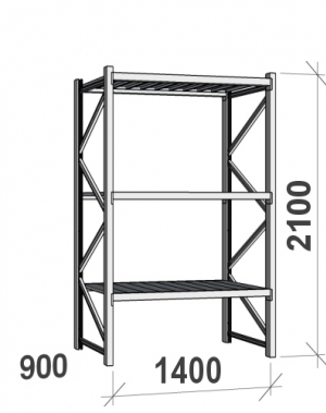Lagerhylla startsektion 2100x1400x900 600kg/hyllplan,3 hyllor