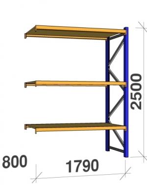 Följesektion 2500x1790x800 360kg/hyllplan 3 hyllor, spånskiva