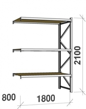 Lagerhylla följesektion 2100x1800x800 480kg/hyllplan 3 hyllor, spånskiva