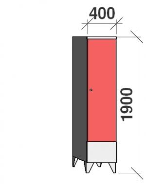 Klädskåp 1x400, 1900x400x545 , kort dörrar