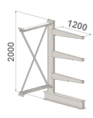 Grenställ följesektion 2000x1000x1200,3 x arm