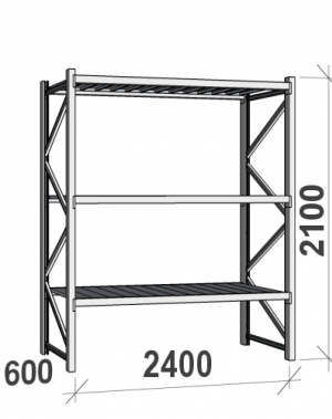 Lagerhylla startsektion 2100x2400x600 300kg/hyllplan,3 hyllor