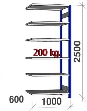 Lagerhylla följesektion 2500x1000x600 200kg/hyllplan,6 hyllor, blå/galv