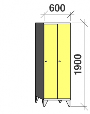 Skåp 2x300, 1900x600x545, lång dörrar