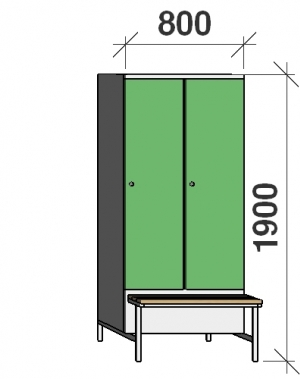 Klädskåp med bänk, 2x400 1900x800x830, separationsvägg