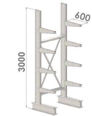 Grenställ startsektion 3000x1000x600,8 x arm