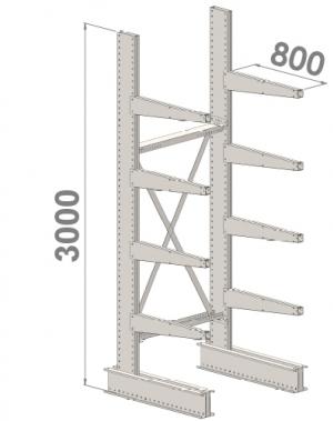 Grenställ startsektion 3000x1000x800,8 x arm