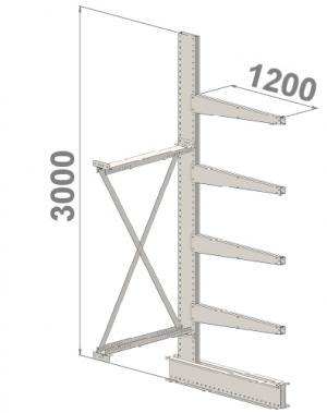Grenställ följesektion 3000x1000x1200,4 x arm