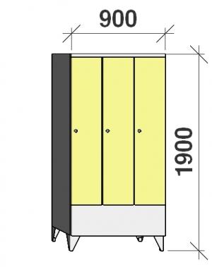 Klädskåp 3x300, 1900x900x545 , kort dörrar