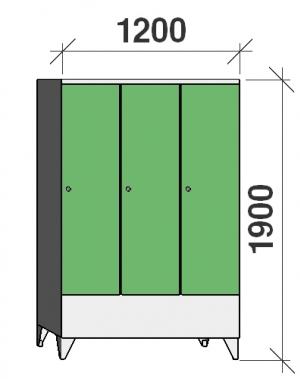 Klädskåp 3x400, 1900x1200x545 , kort dörrar, separationsvägg