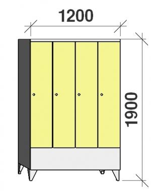 Klädskåp 4x300, 1900x1200x545 , kort dörrar
