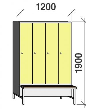 Klädskåp med bänk, 4x300 1900x1200x830