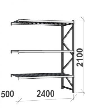 Lagerhylla följesektion 2100x2400x500 300kg/hyllplan,3 hyllor