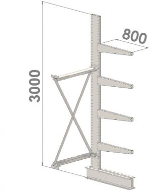 Grenställ följesektion 3000x1500x800,4 x arm