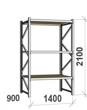 Lagerhylla startsektion 2100x1400x900 600kg/hyllplan,3 hyllor, spånskiva