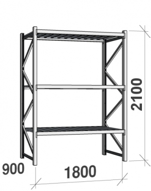 Lagerhylla startsektion 2100x1800x900 480kg/hyllplan,3 hyllor