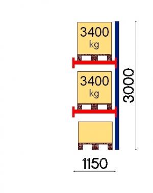 Pallställ följesektion 3000x1150 3400kg/3 pallar