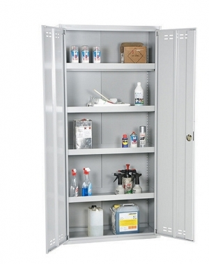 Kemikalieskåp, 4 hyllor, 1800x800x400, RAL 7035, hopfällbar
