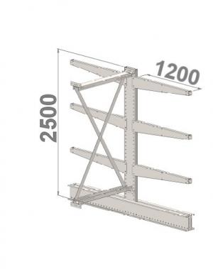 Grenställ följesektion 2500x1500x2x1200,6 x arm