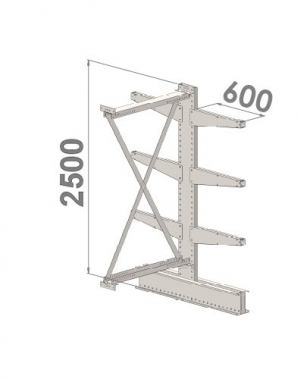 Grenställ följesektion 2500x1500x2x600,6 x arm