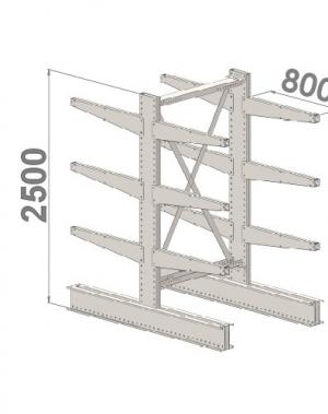 Grenställ startsektion 2500x1500x2x800,12 x arm