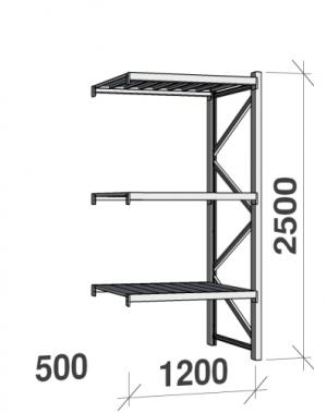 Lagerhylla följesektion 2500x1200x500 600kg/hyllplan 3 hyllor, zinkplåt
