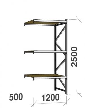 Lagerhylla följesektion 2500x1200x500 600kg/hyllplan 3 hyllor, spånskiva