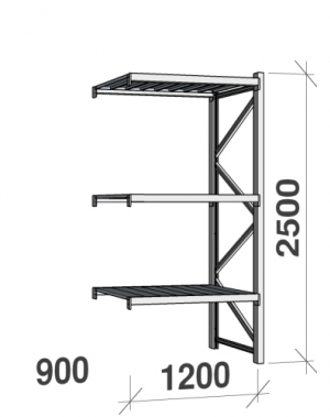 Lagerhylla startsektion 2500x1200x900 600kg/hyllplan,3 hyllor