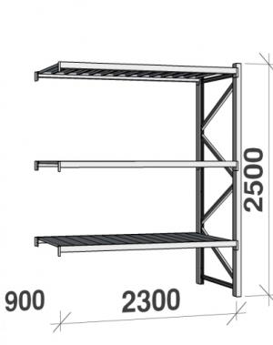 Lagerhylla följesektion 2500x2300x900 350kg/hyllplan 3 hyllor, zinkplåt