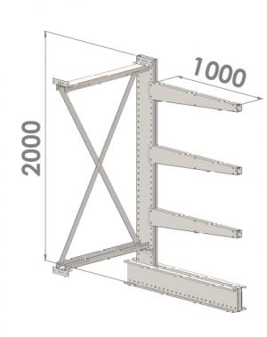 Grenställ följesektion 2000x1500x1000,3 x arm
