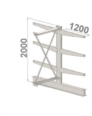 Grenställ följesektion 2000x1500x2x1200,6 x arm
