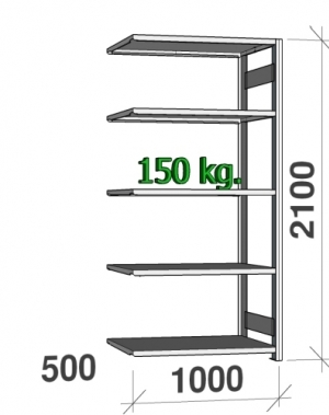 Lagerhylla följesektion 2100x1000x500 150kg/hyllplan,5 hyllor