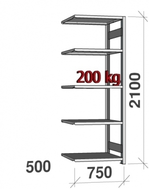 Lagerhylla följesektion 2100x750x500 200kg/hyllplan,5 hyllor