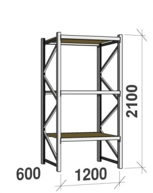 Lagerhylla startsektion 2100x1200x600 600kg/hyllplan,3 hyllor, spånskiva