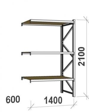 Lagerhylla följesektion 2100x1400x600 600kg/hyllplan 3 hyllor, spånskiva