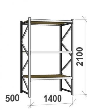 Lagerhylla startsektion 2100x1400x500 600kg/hyllplan,3 hyllor, spånskiva