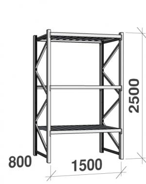 Lagerhylla startsektion 2500x1500x800 600kg/hyllplan,3 hyllor, zinkplåt