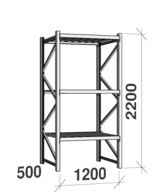 Lagerhylla startsektion 2200x1200x500 600kg/hyllplan,3 hyllor, zinkplåt