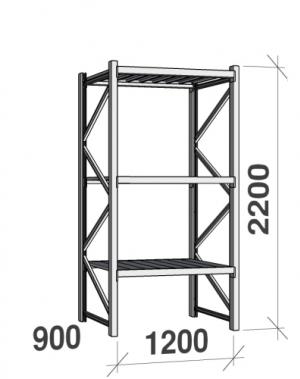 Lagerhylla startsektion 2200x1200x900 600kg/hyllplan,3 hyllor, zinkplåt