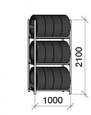 Däckställ startsektion 2100x1000x500, 3 hyllplan