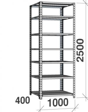 Metallhylla 2500x1000x400, 7 hyllor, 120kg/hyllplan, grå