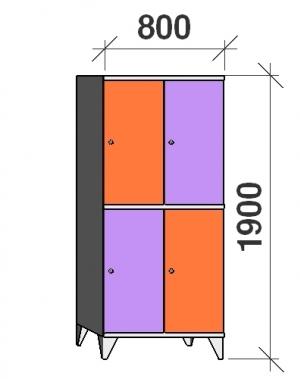 Klädskåp, 4 dörrar, 1900x800x545 mm