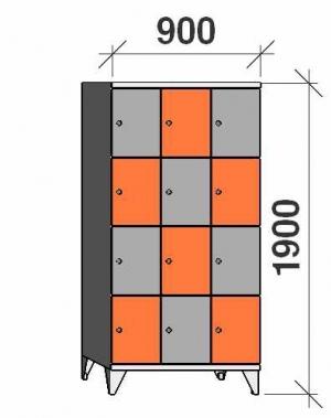 Klädskåp, 12 dörrar, 1900x900x545 mm
