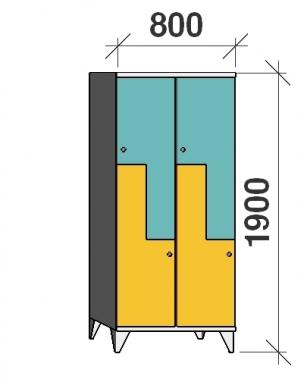 Z- Metallskåp, 4 dörrar, 1900x800x545