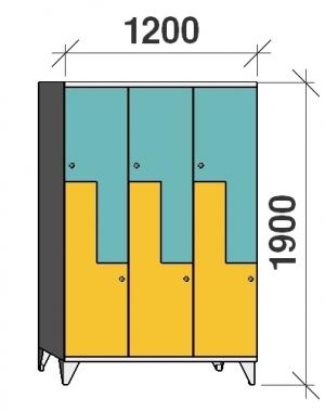 Z- Metallskåp, 6 dörrar, 1900x1200x545