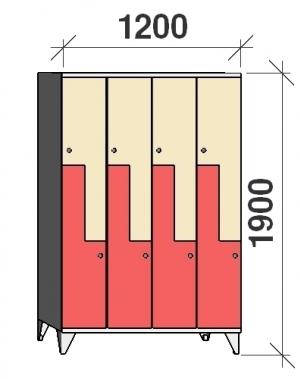 Z- Metallskåp, 8 dörrar, 1900x1200x545